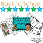Free Back to School Contraction Matching Game