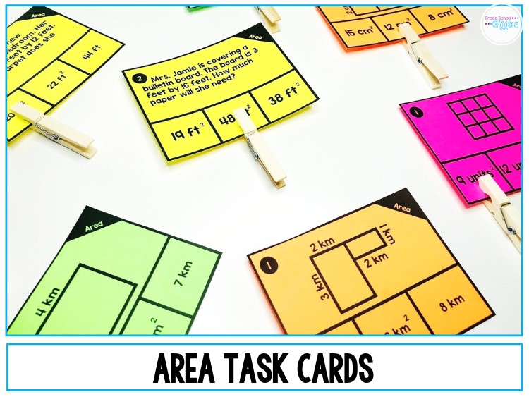 Hands-on activities make learning math so much more fun! Plus, they really help kids understand the concepts better. If you're looking for activities to teach area and perimeter, this blog post is for you. There are ideas for teaching kids to find the area and perimeter of rectangles and of irregular shapes. Plus, you'll find a link to additional resources like task cards and worksheets with word problems that you can use in your lessons. 3rd grade #Area #Math #3rdGrade #Teaching