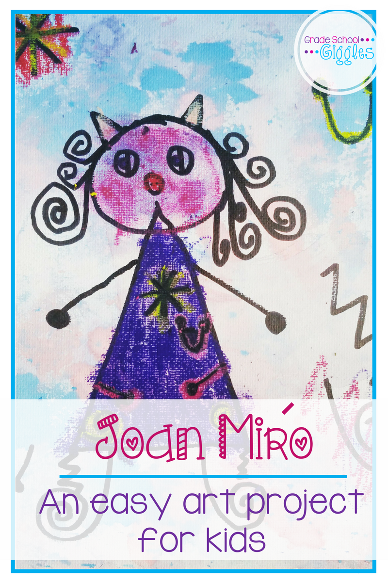 Artwork by Joan Miro is colorful, fun, and playful. It's a perfect source of inspiration for art projects for kids. This easy watercolor and mixed media project combines drawing and painting. It lets kids get creative. By using simple abstract lines, easy to draw shapes, and pops of color his style is easily accessible. Each canvas will be unique and awesome. This project is perfect for a group or classroom.