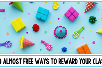 Developing a classroom environment that encourages & celebrates each child's success is just as important as creating a rigorous one. There are so many ways to celebrate and reward both individual kids and whole classrooms. Classroom rewards don't even have to cost teachers a penny. Here are 60 ideas for fun free and cheap classroom rewards including simple no-cost ideas and non-food choices. From award certificates to candy there are ideas to fit any classroom system. #classroomrewards #awards