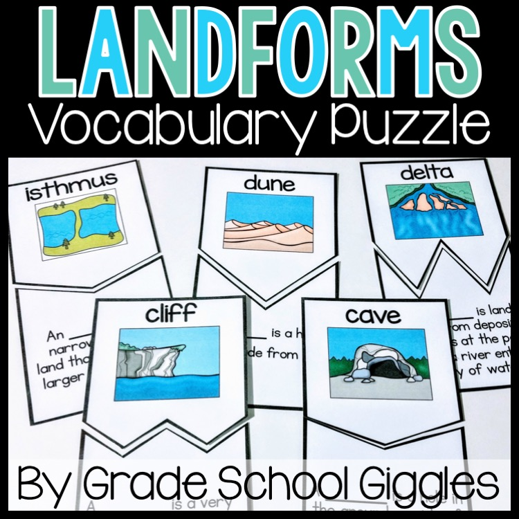 Landforms Vocabulary Puzzle